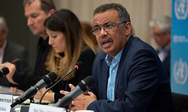 Tiến sĩ Tedros Adhanom Ghebreyesus phát biểu trong cuộc họp khẩn tại Geneva ngày 23/1. Ảnh: Reuters