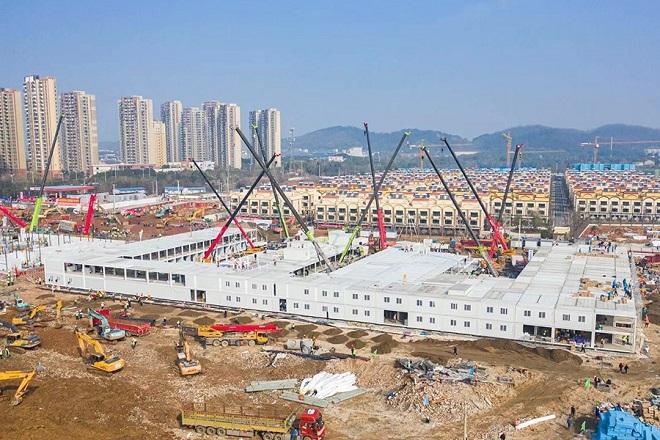 Toàn cảnh Houshenshan bệnh viện từ trên cao hôm 31/1. Ảnh: China Daily