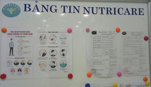 Thông tin về phòng chống dịch bệnh nCoV được dán tại bảng tin của Nutricare để nhân viên nắm bắt.
