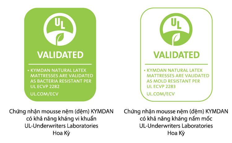 Chứng nhận khả năng kháng vì khuẩn và kháng nấm mốc của Kymdan do tổ chức UL công nhận.