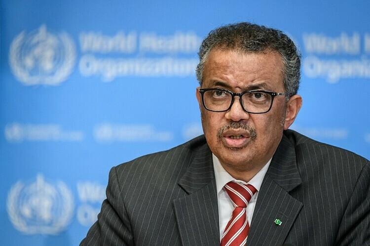 Tổng giám đốc WHOTedros Adhanom Ghebreyesus trong cuộc hop ngày 11/3. Ảnh: AFP