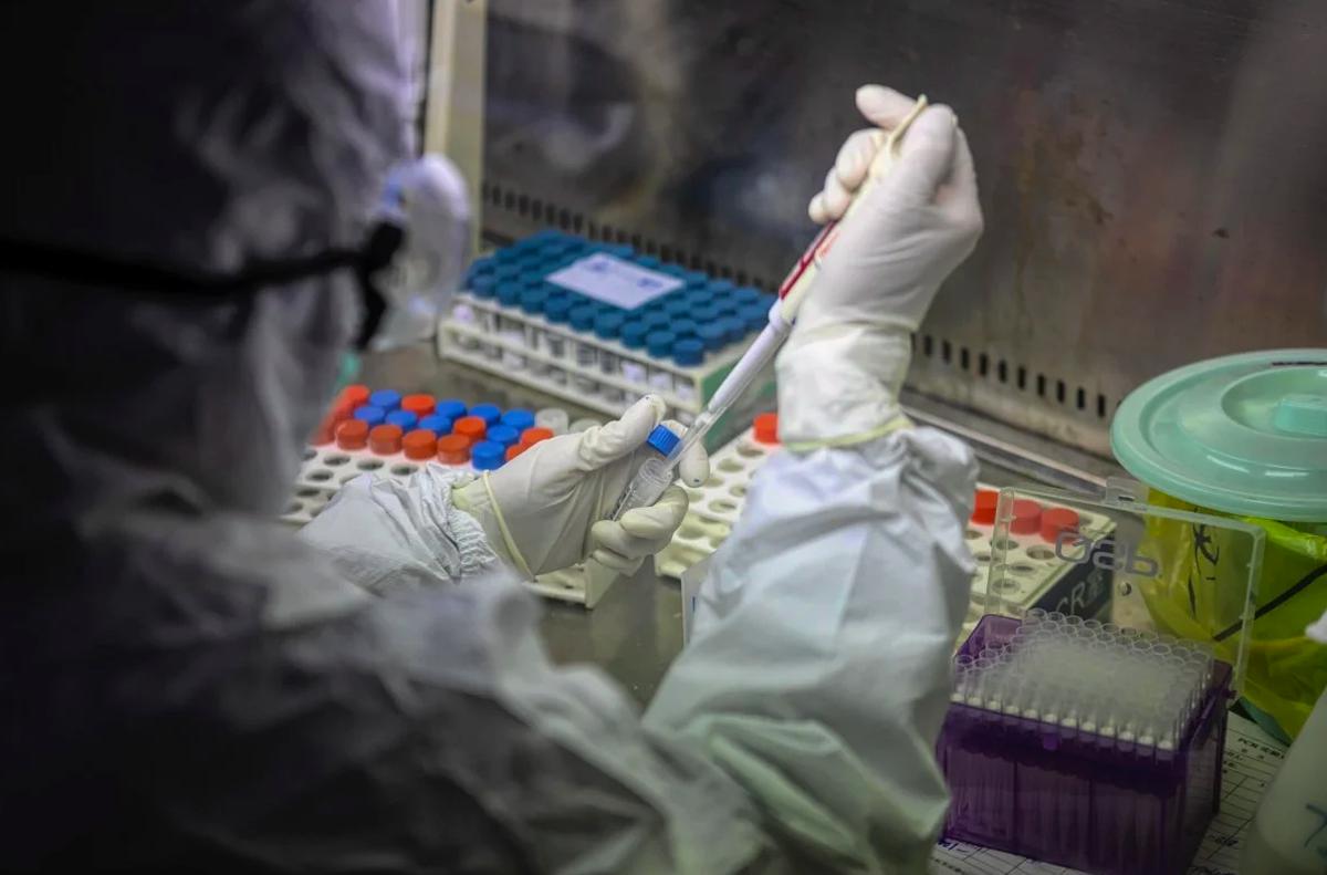 Nhà nghiên cứu Trung Quốc đang thử nghiệm các mẫu bệnh phẩm Covid-19. Ảnh:EPA-EFE