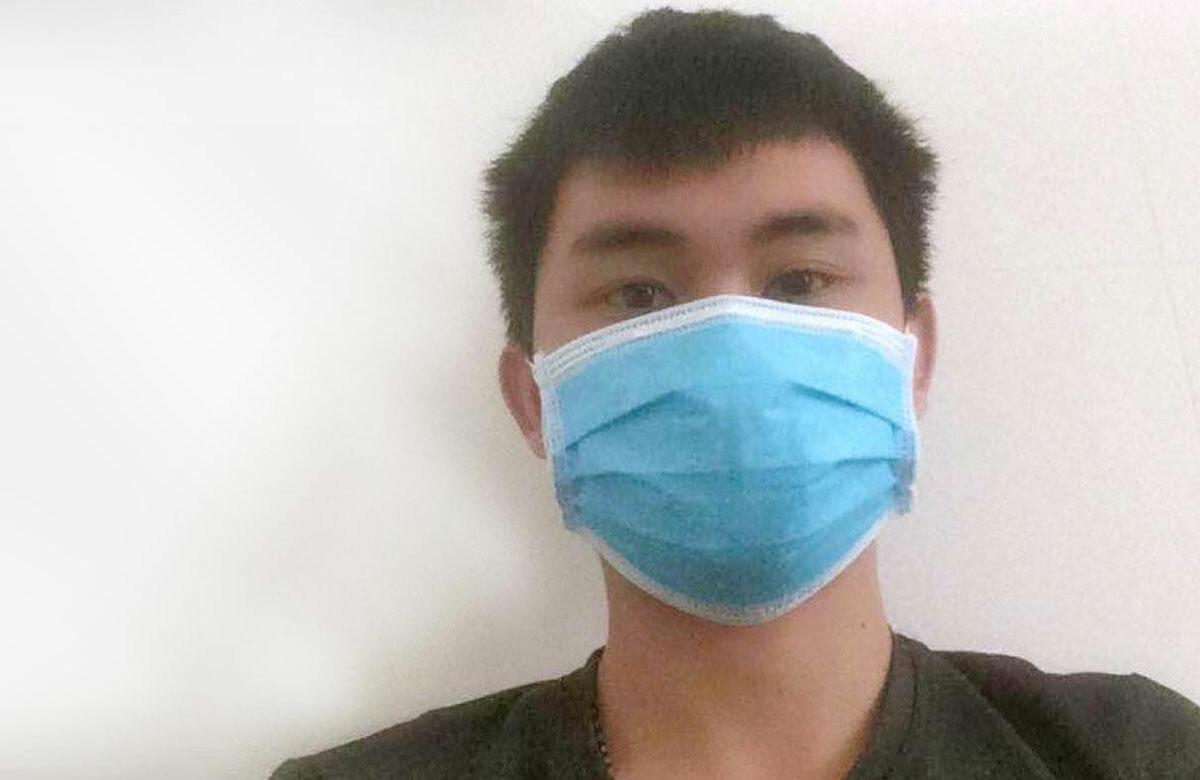 Bệnh nhân 265 đang điều trị tại Bệnh viện Đa khoa Khu vực cửa khẩu Cầu Treo. Ảnh: Nhân vật cung cấp