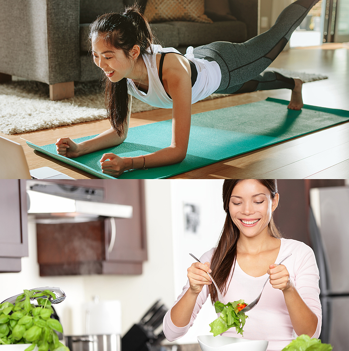 Tập thể dục và có chế độ ăn uống lành mạnh trong thời gian giãn cách xã hội.