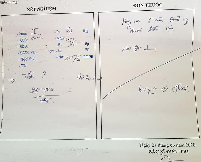 Phiếu khám bệnh kết luận của người phụ nữ ở huyện Thăng Bình, tại Bệnh viện Phụ sản - Nhi Đà Nẵng không có thai. Ảnh: Đắc Thành.
