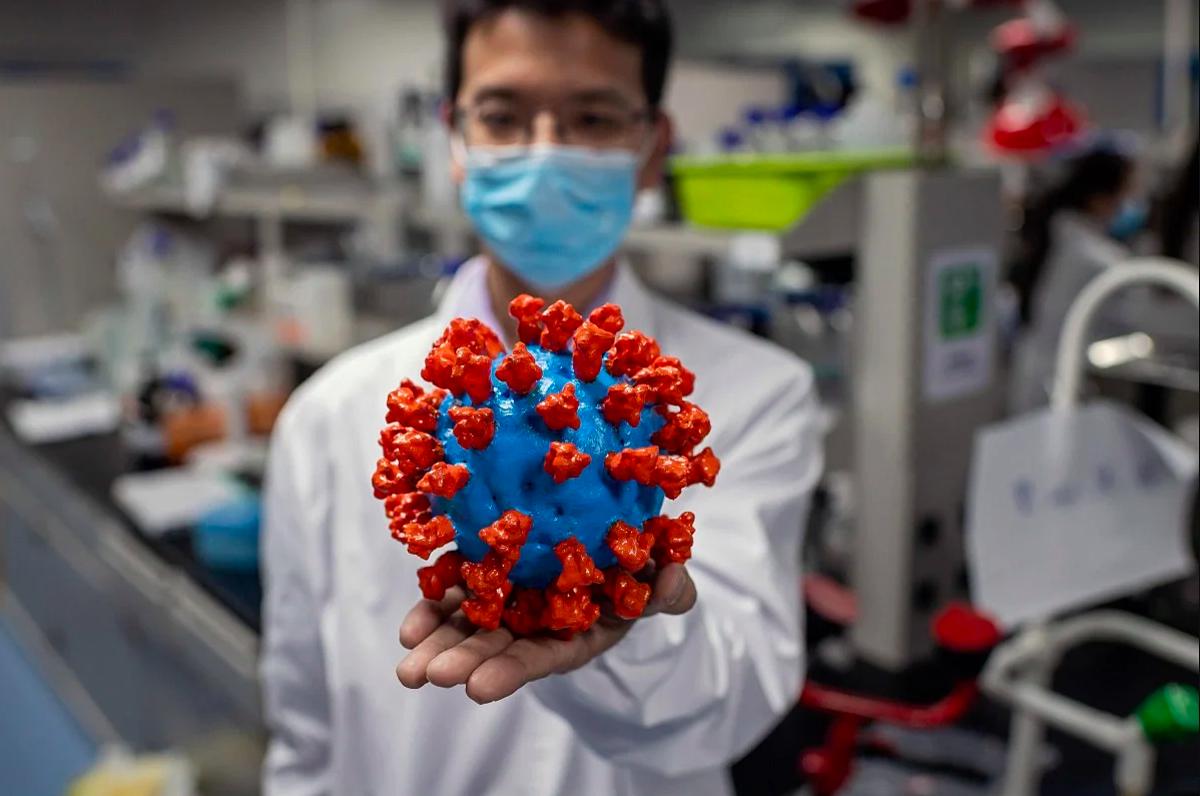 Kỹ thuật viên tại Công ty công nghệ sinh học Sinovac ở Bắc Kinh cầm trên tay mô hình nCoV bằng nhựa, tháng 5/2020. Ảnh: AFP