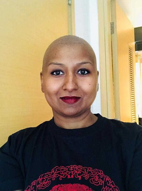 Priya Menon trong suốt đợt hóa trị. Ảnh: Priya Menon