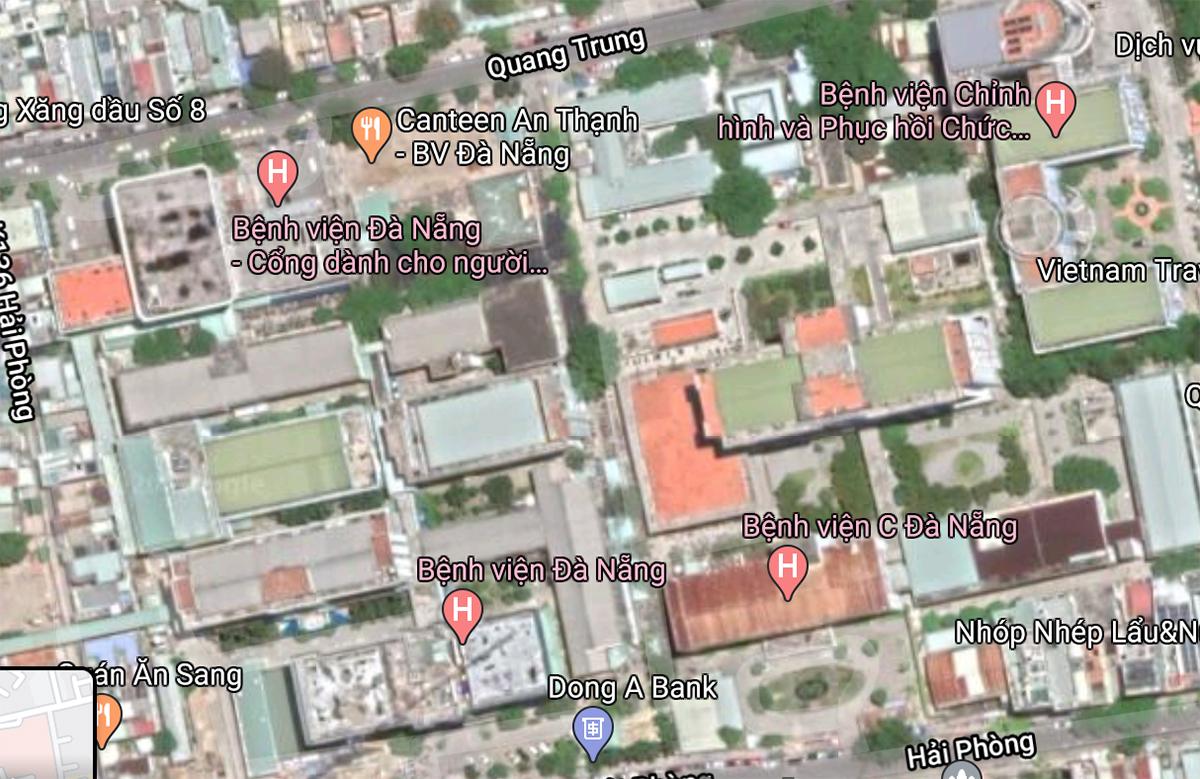 Vị trí ba bệnh viện theo ảnh chụp vệ tinh.
