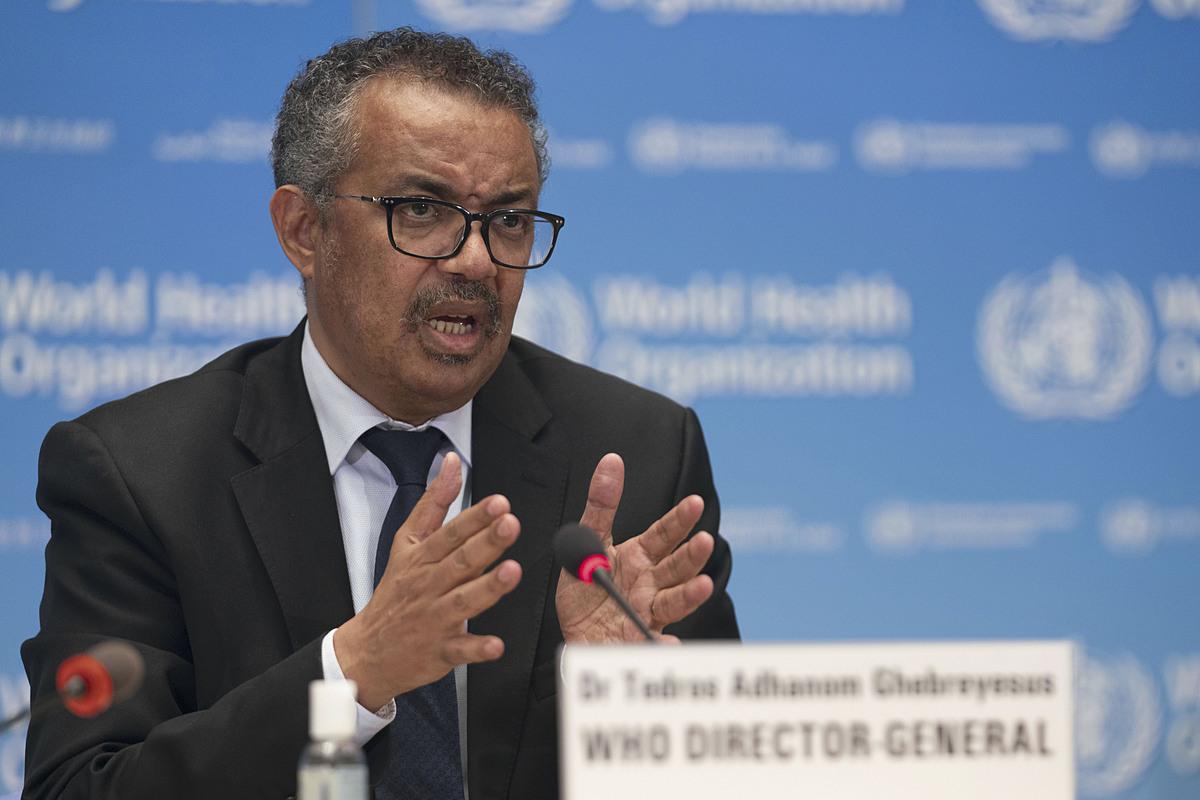 Tổng giám đốc WHO Tedros Adhanom Ghebreyesus trong buổi họp tại Thụy Sĩ, ngày 27/5. Ảnh: Reuters