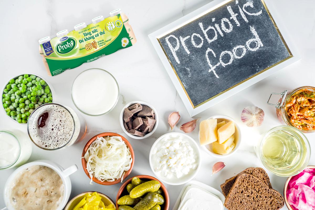 Thực phẩm lên men, sữa chua uống Probi chứa lợi khuẩn hỗ trợ tăng đề kháng.