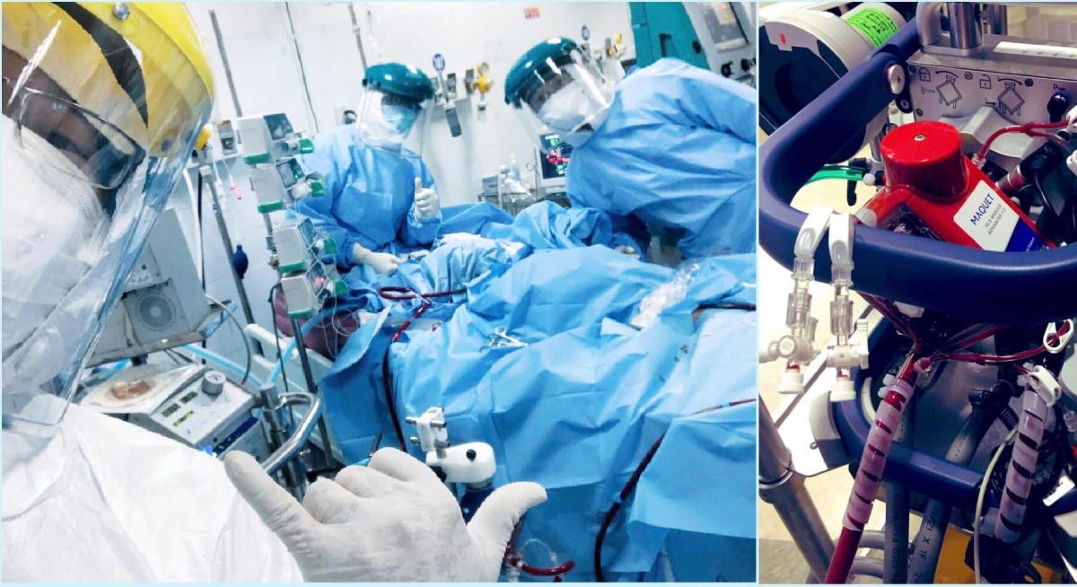 Bác sĩ Hiếu và đồng nghiệp vui mừng khi cai ECMO thành công cho một bệnh nhân nặng tại ICU Bệnh viện Phổi Đà Nẵng. Ảnh Bác sĩ cung cấp.