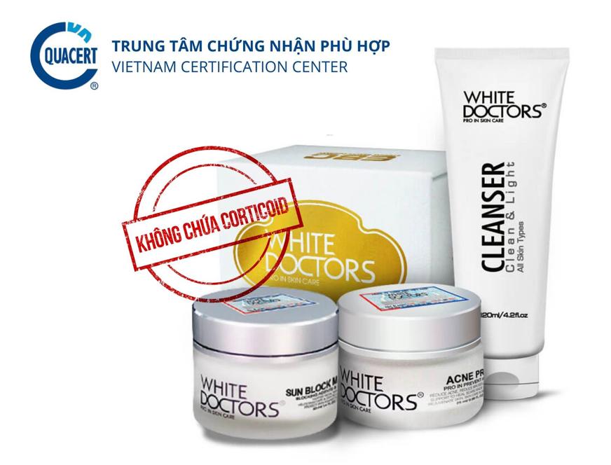 Sản phẩm White Doctors được kiểm nghiệm không chứa Corticoid.