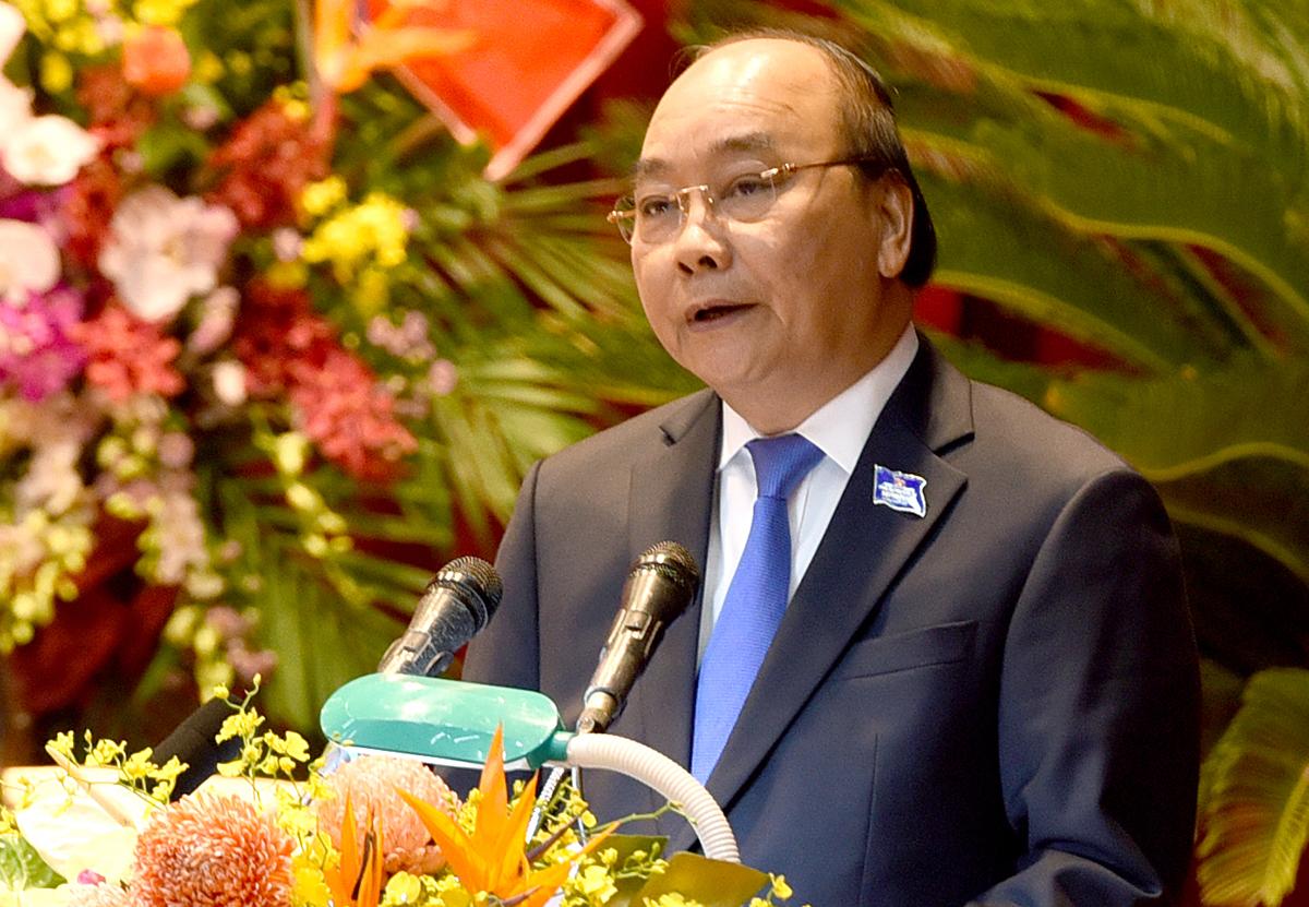 Thủ tướng Nguyễn Xuân Phúc tại Đại hội Đảng bộ Nghệ An ngày 17/10. Ảnh: Nguyễn Hải.
