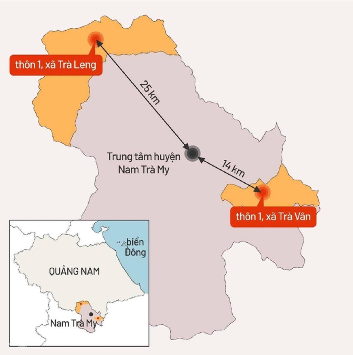 Xã Trà Leng và xã Trà Vân cách nhau 45 km; giao thông khó khăn, địa hình phức tạp, chủ yếu là gò đồi xen với ruộng bậc thang. Đồ hoạ:Tiến Thành.
