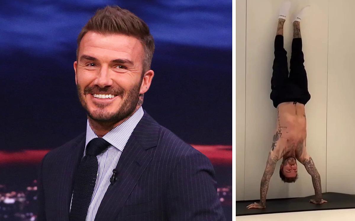 Cầu thủ David Beckham rèn luyện thể lực với động tác trồng cây chuối. Ảnh: Telegraph