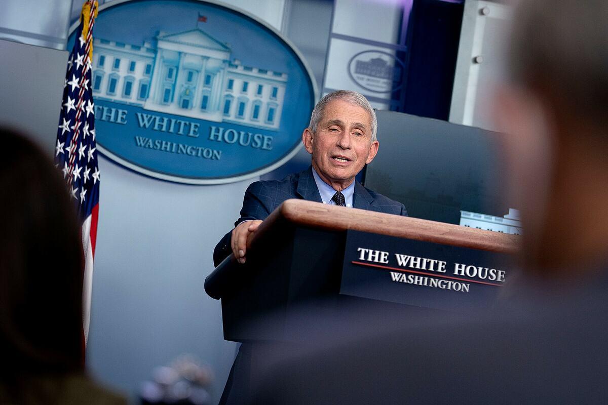Tiến sĩ Anthony Fauci, giám đốc Viện Dị ứng và Bệnh truyền nhiễm Quốc gia trong buổi họp tại Nhà Trắng. Ảnh: NY Times