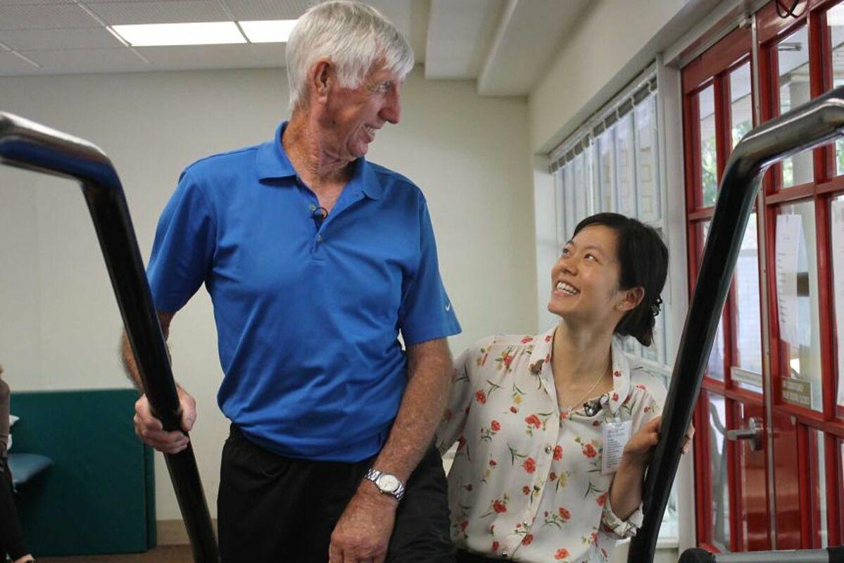 Mr. Handforth in rehabilitation exercises with Yee Ching Wong nurse.  Photo: ABC News