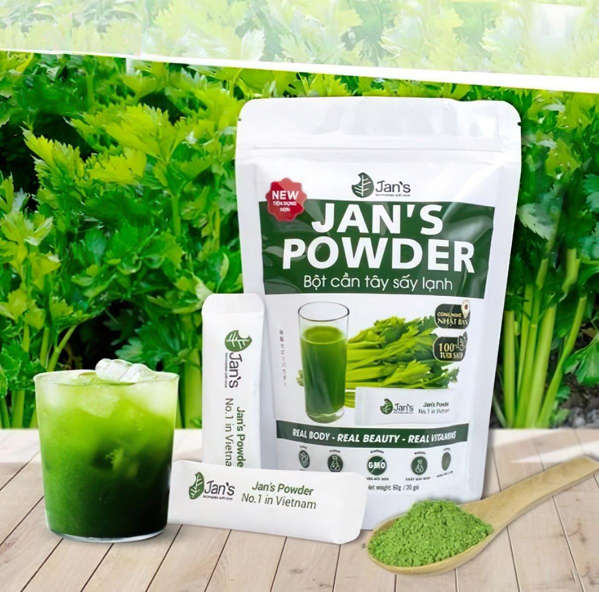 Bột cần tây Jans được trồng và sản xuất tại Việt Nam. XIN TÊN NGƯỜI CHỤP ẢNH.