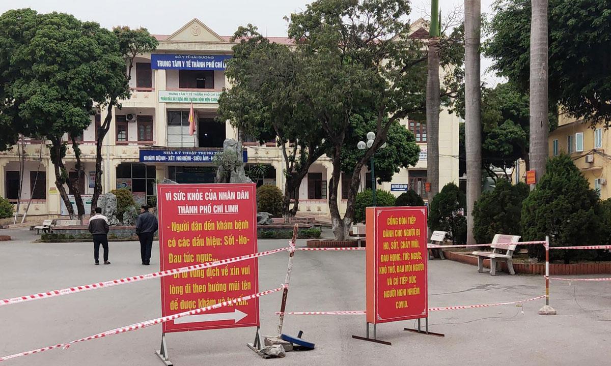 Bên ngoài Trung tâm Y tế TP Chí Linh ngày 29/1. Ảnh: Bộ Y tế.