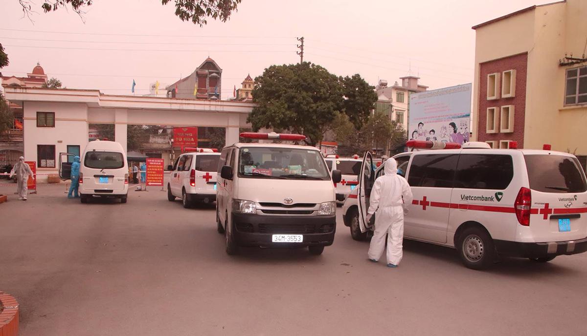 Bệnh viện dã chiến số 1 Hải Dương hoạt động từ ngày 29/1, bắt đầu tiếp nhận bệnh nhân Covid-19. Ảnh do Bộ Y tế cung cấp.