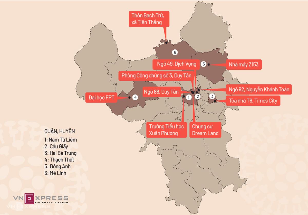 10 điểm bị phong tỏa tại Hà Nội, ngày 2/2. Đồ họa: Tiến Thành.