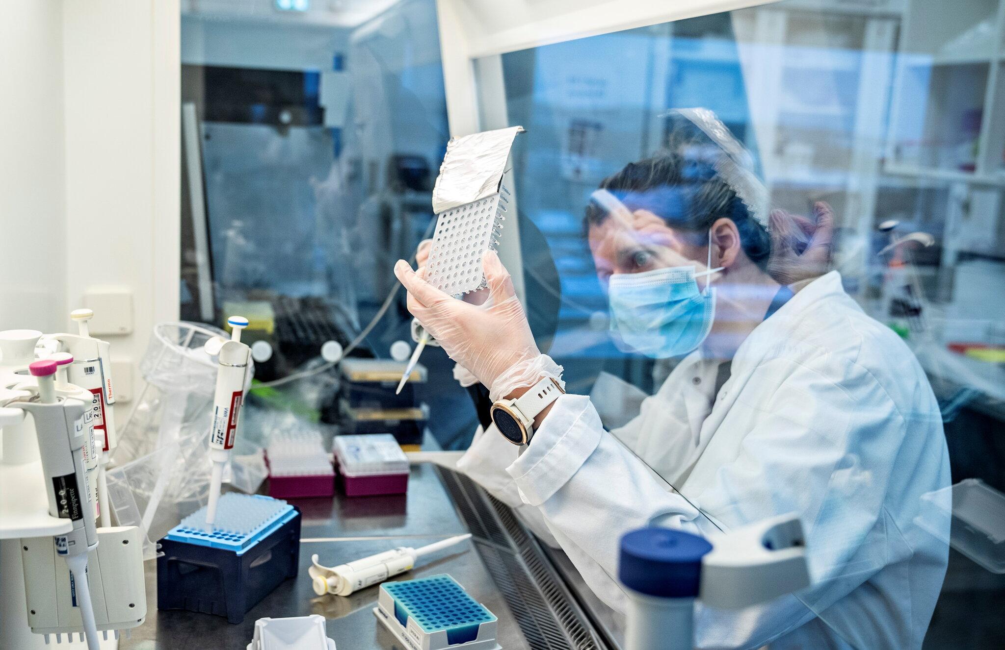 Nhà nghiên cứu tại Đại học Aalborg ở Đan Mạch phân tích mẫu coronavirus cho biến thể B.1.1.7, tháng 12/2020. Ảnh: