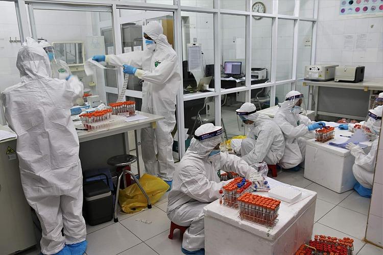 Nhân viên phân loại các mẫu xét nghiệm và đánh mã mẫu từ F1 đến F4. Ảnh: Bộ Y tế