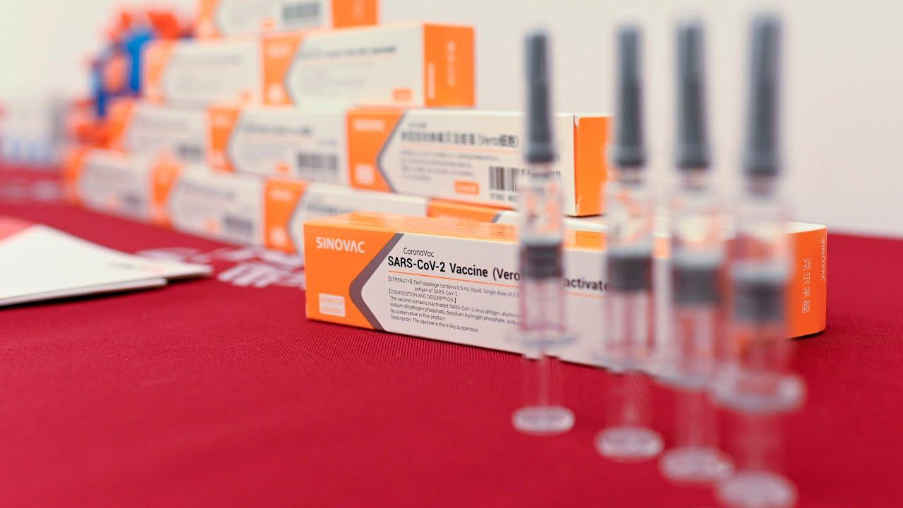 Vaccine Covid-19 của hãng dược Sinovac, Trung Quốc trưng bày tại một buổi họp báo tháng 10/2020. Ảnh: AFP