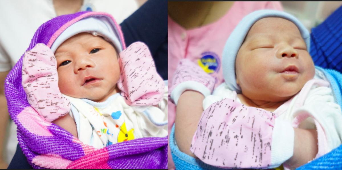 Hai chị em song sinh chào đời cách nhau 1 giờ, nơi sinh cũng cách nhau vài km. Ảnh: Bệnh viện cung cấp.
