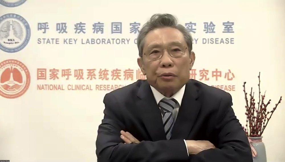 Viện sĩ Chung Nam Sơn trong buổi họp trực tuyến tổ chức bởi  Brookings và Đại học Thanh Hoa, ngày 28/2. Ảnh: AP.