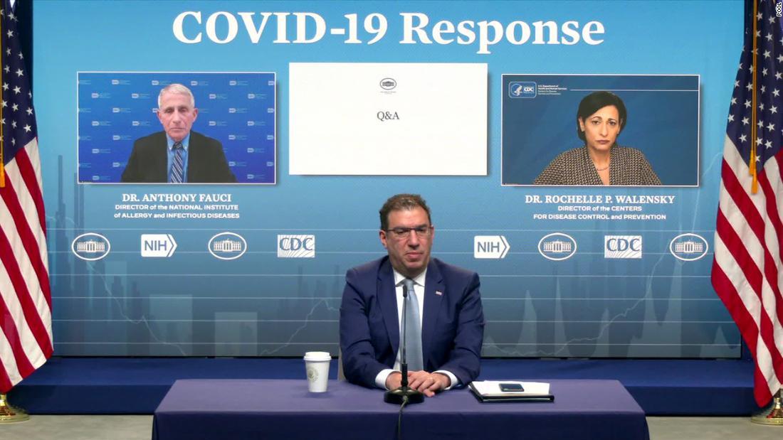 Cuộc họp báo trực tuyến của Nhóm Phản ứng Covid-19 ngày 1/3 với sự tham gia của ông Fauci và bà Walensky. Ảnh: CNN.