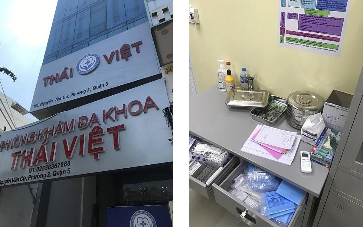 Phòng khám đa khoa Thái Việt ở quận 5 tại thời điểm kiểm tra. Ảnh do Sở Y tế TP HCM cung cấp.
