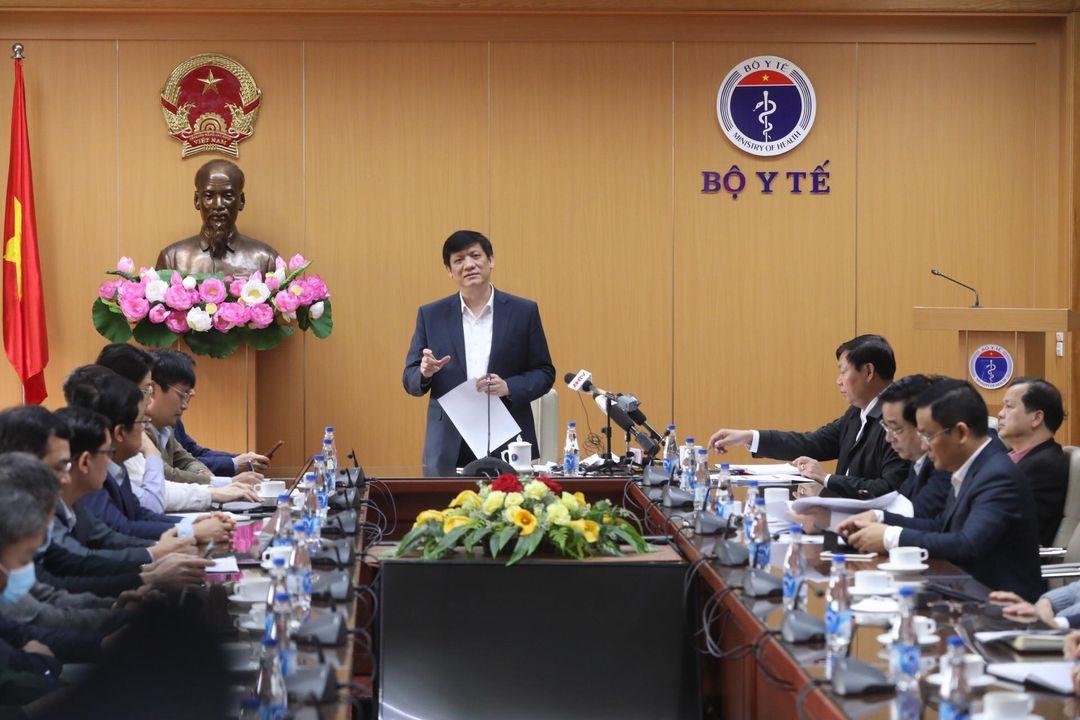 Bộ trưởng Y tế Nguyễn Thanh Long chủ trì Hội nghị tập huấn tiêm phòng vaccine Covid-19, sáng 6/3. Ảnh: Nguyễn Quyết.