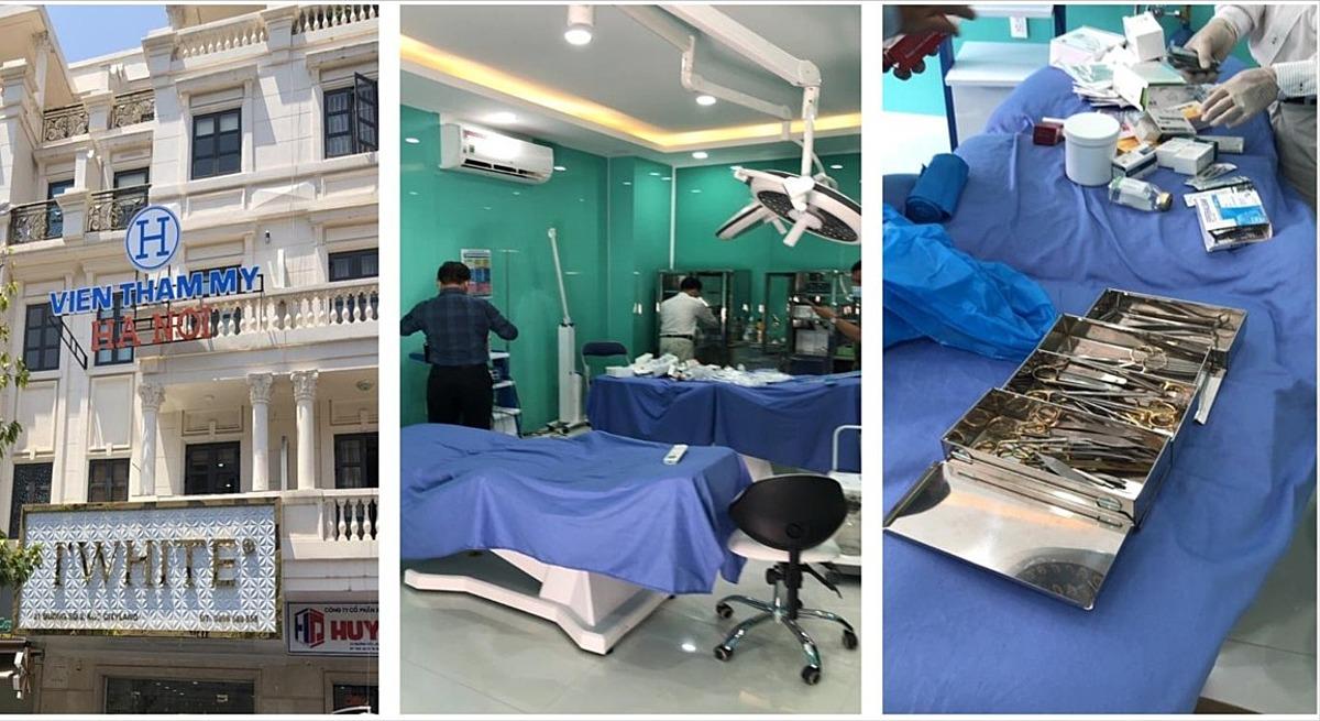 Cơ sở Viện thẩm mỹ Hà Nội phẫu thuật thẩm mỹ không phép tại quận Gò Vấp. Ảnh do Sở Y tế TP HCM cung cấp.