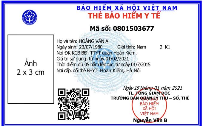 Mẫu thẻ bảo hiểm y tế mới được đưa vào sử dụng từ ngày 1/4. Ảnh: Bảo hiểm Xã Hội Việt Nam.