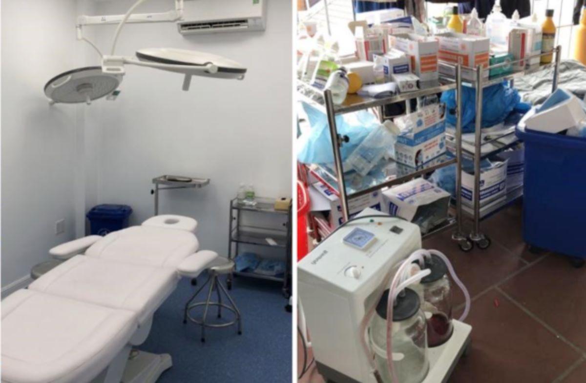 Cơ sở chăm sóc da mặt Viet Anh Mega Beauty Center có phòng mổ; trang thiết bị, dụng cụ y tế, thuốc men ở sân thượng. Ảnh: Sở Y tế TP HCM.