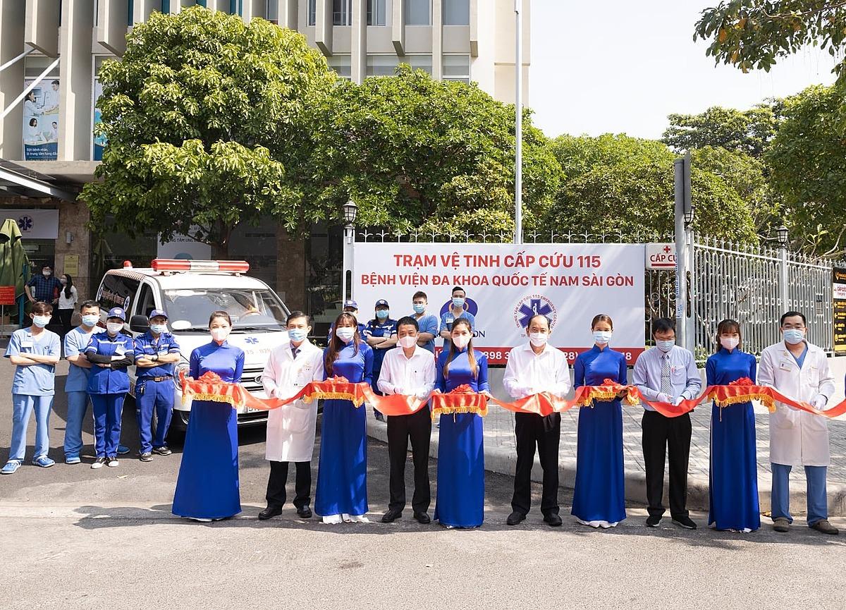 Lễ ra mắt Trạm cấp cứu vệ tinh 115 thứ 36 tại Bệnh viện đa khoa quốc tế Nam Sài Gòn. Ảnh do Sở Y tế TP HCM cung cấp.
