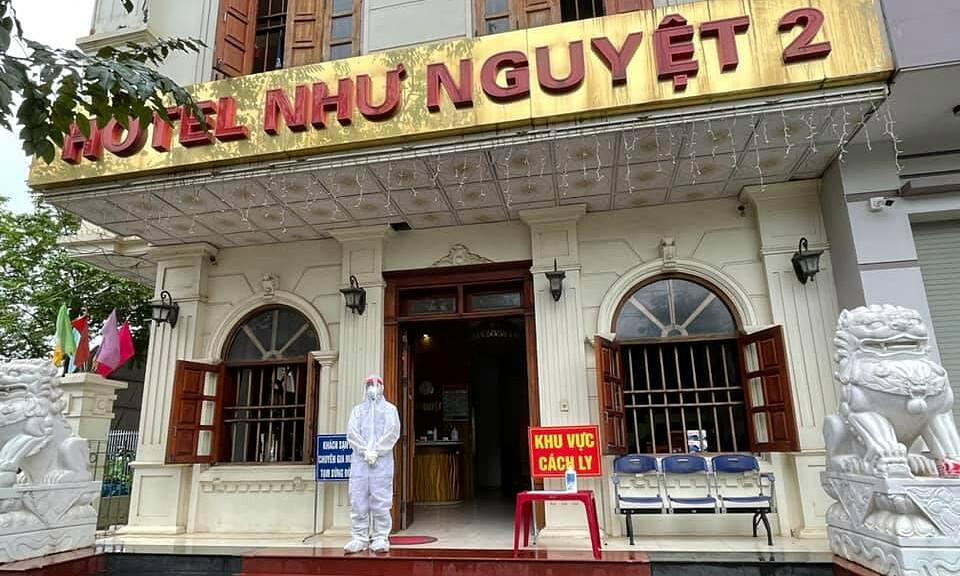 Khách sạn Như Nguyệt 2, nơi cách ly 2 đoàn chuyên gia Ấn Độ và Trung Quốc. Ảnh: Đình Anh.