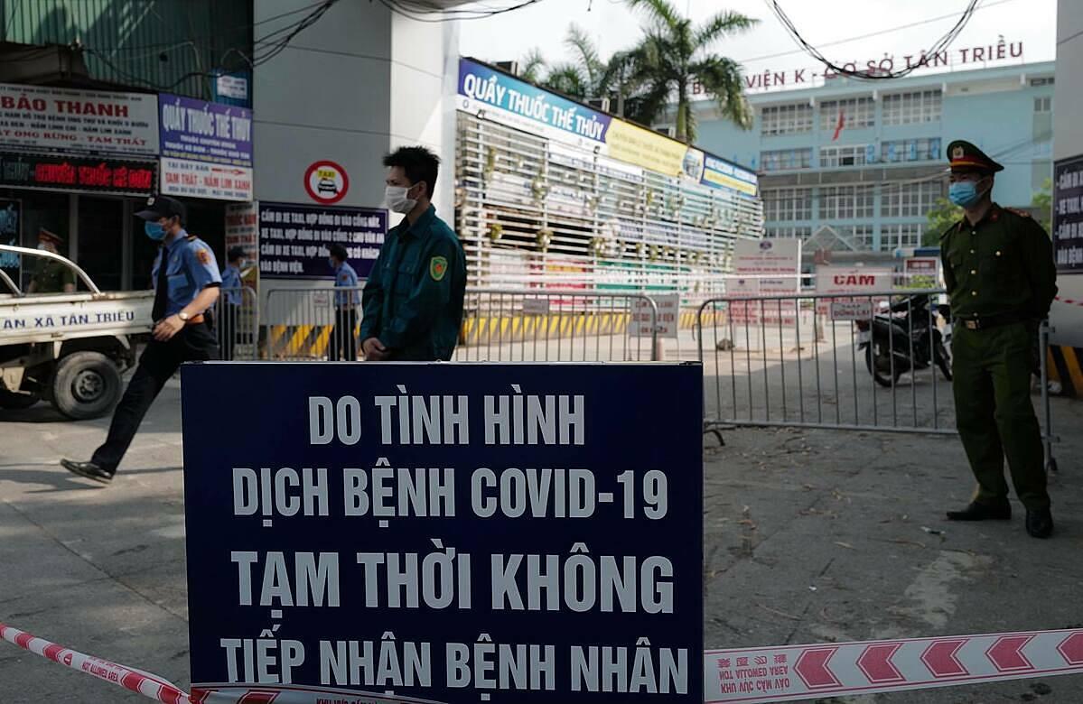 Bệnh viện K Tân Triều dừng tiếp nhận bệnh nhân từ sáng 7/5. Ảnh: Ngọc Thành.