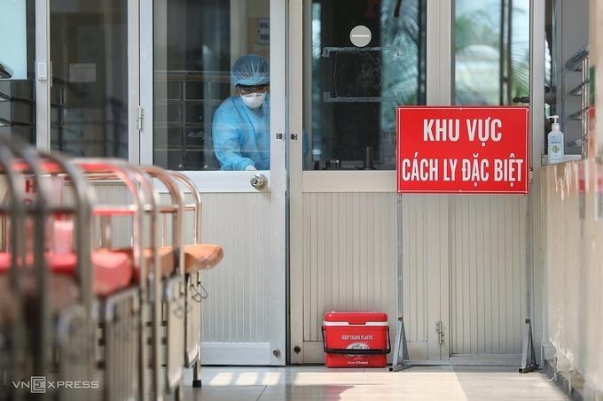 Khu vực cách ly điều trị Covid-19 tại Bệnh viện Bệnh Nhiệt đới TP HCM. Ảnh: Quỳnh Trần.