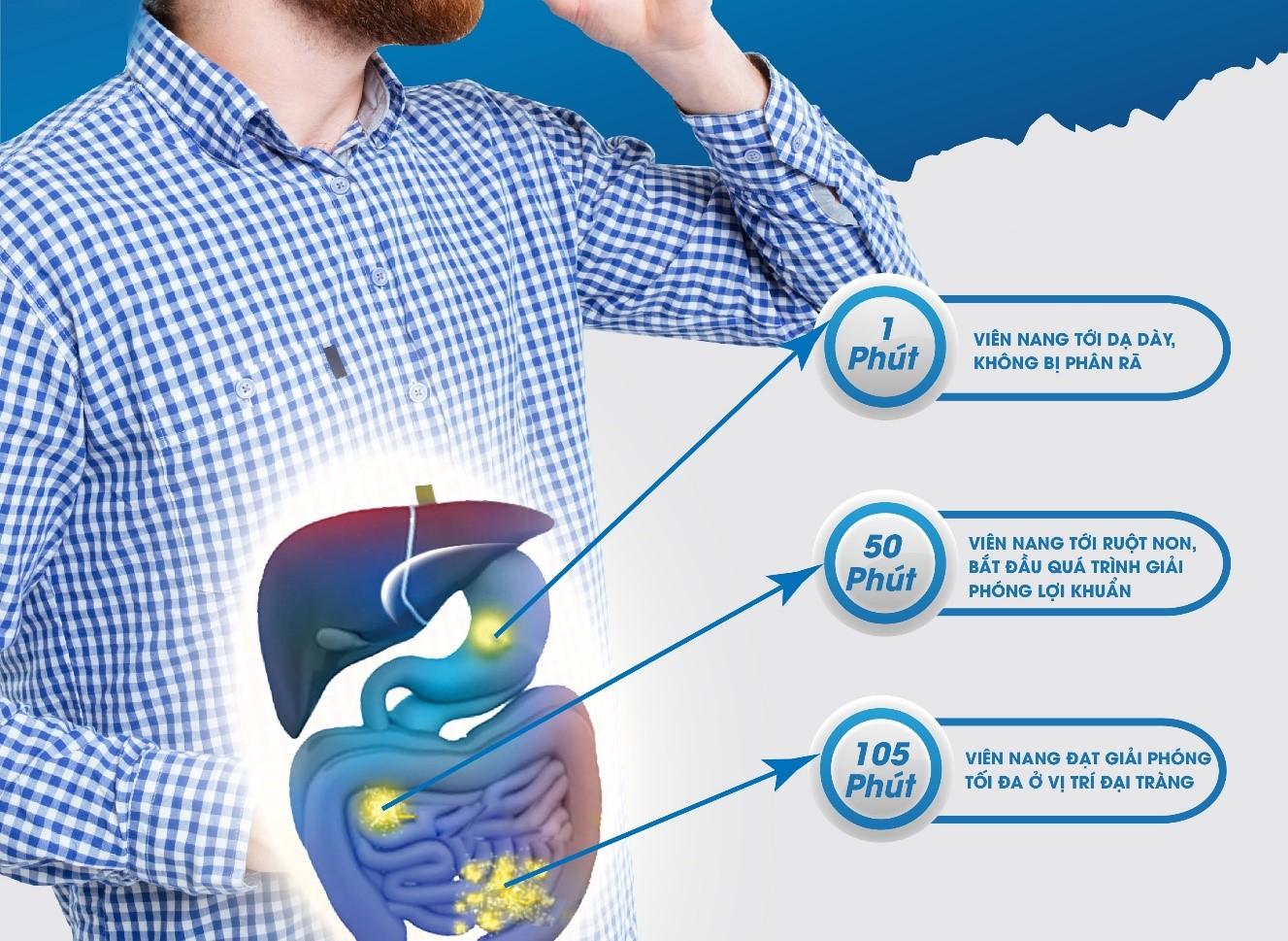 Hình ảnh mô tả quá trình hoạt động của viên nang Bifiso UK sau một phút, 50 phút, 105 phút.