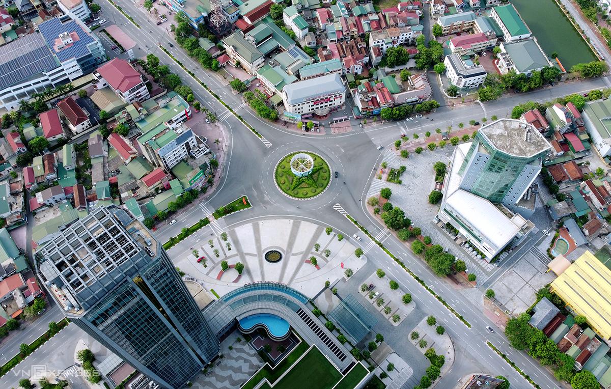 Trung tâm TP Hà Tĩnh những ngày cách ly xã hội. Ảnh: Đức Hùng