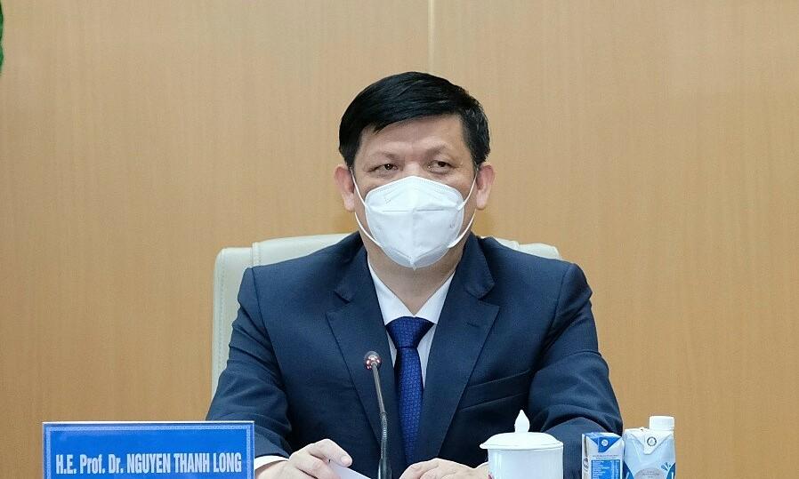 Bộ trưởng Nguyễn Thanh Long họp về cung ứng và chuyển giao công nghệ vaccine Covid-19 do Cuba sản xuất, chiều 16/6. Ảnh: Đức Minh.