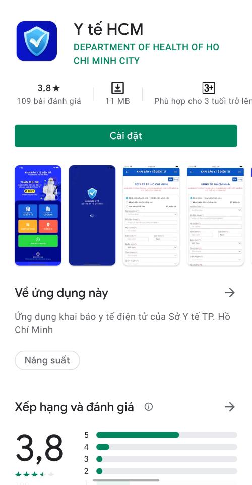 Giao diện của ứng dụng Y tế HCM trên hệ điều hành Android. Ảnh chụp màn hình.