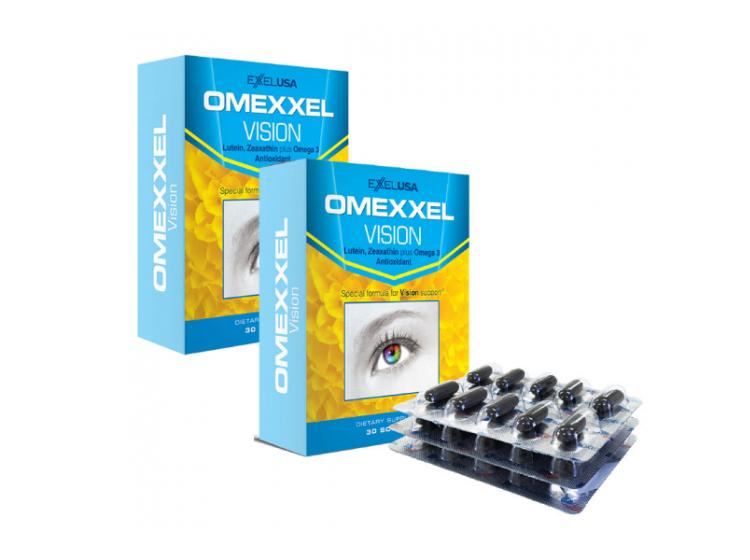 Viên uống bổ mắt Omexxel Vision chứa thành phần Lutein, Zeaxanthin, Vitamin C, Vitamin E, kẽm, đồng và Omega 3 (DHA, EPA) có tác dụng hỗ trợ cải thiện và phòng ngừa các bệnh về mắt như: đục thủy tinh thể, thoái hóa điểm vàng, phù giác mạc, mờ, đục giác mạc. Ngoài ra, sản phẩm còn hỗ trợ chống lão hóa, cải thiện da. Sản phẩm phù hợp với người lớn tuổi, người có thị lực kém, loạn thị, cận thị, người làm việc nhiều với máy tính, không dùng cho trẻ em dưới 12 tuổi. Ngày uống một lần, mỗi lần một viên sau khi ăn. Sản phẩm không phải là thuốc và không có tác dụng thay thế thuốc chữa bệnh. Bộ 2 hộp, mỗi hộp 30 viên đang được bán với giá ưu đãi là 760.000 đồng.