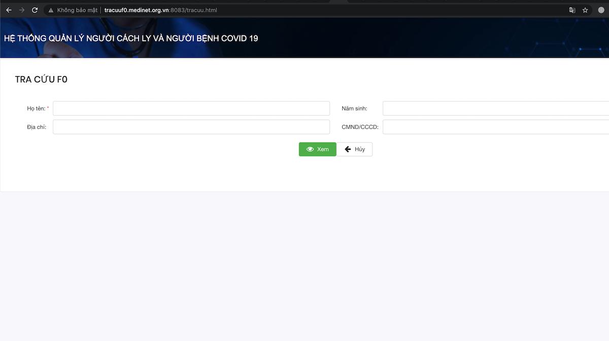 Màn hình hiển thị của phần mềm tra cứu thông tin F1, F0. Ảnh chụp màn hình
