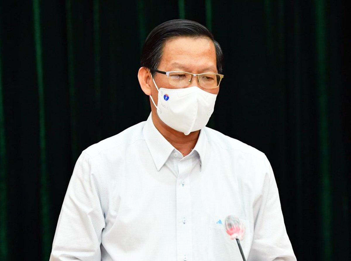 Ông Phan Văn Mãi tại cuộc họp chiều 5/8. Ảnh: Trung tâm Báo chí TP HCM.