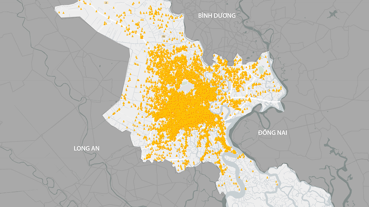 Đến ngày 14/8, TP HCM ghi nhận hơn 144.700 ca nhiễm ở khắp 22 quận huyện. Đồ hoạ: Hoàng Khánh