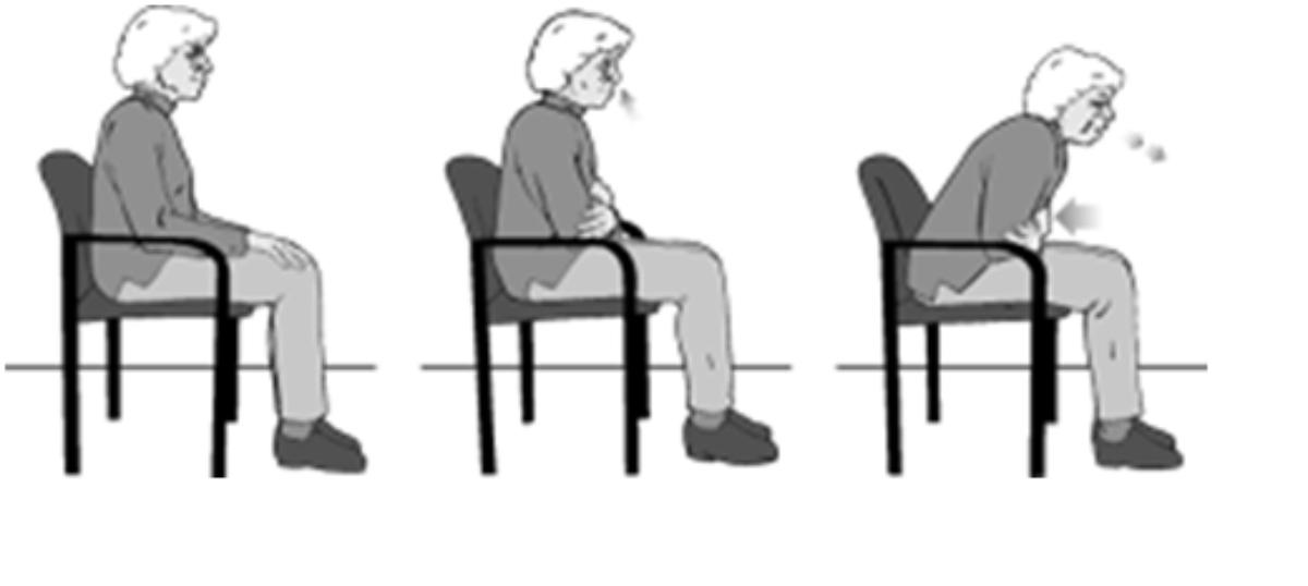 Mô phỏng tư thế ngồi khi tập ho chủ động. Ảnh: Krsna Physio Plus