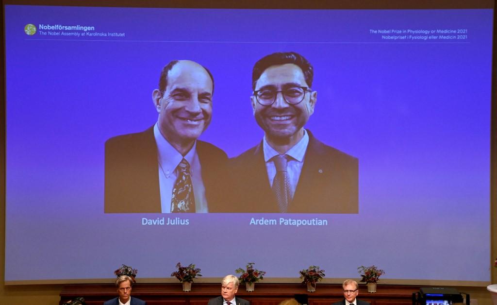 Hai nhà khoa học David Julius (trái) và Ardem Patapoutian (phải) được xướng tên trong lễ trao giải Nobel tại Viện Karolinska ở Stockholm, Thụy Điển, ngày 4/10. Ảnh: AFP
